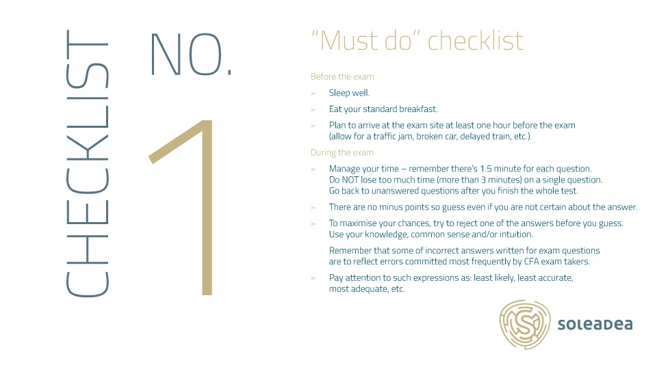Must-Do CFA Checklist