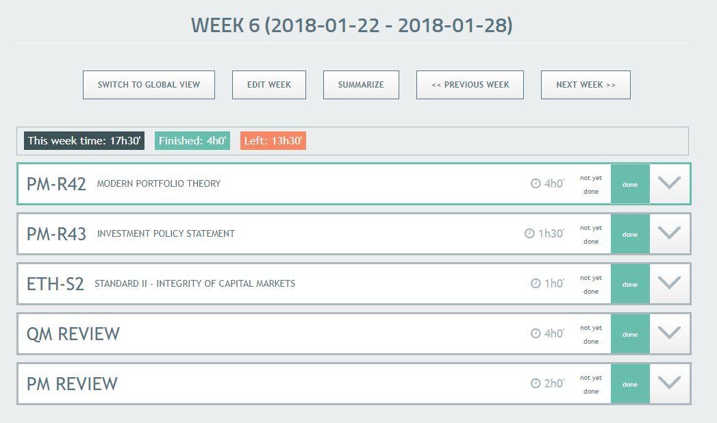 Study Plan: Week View
